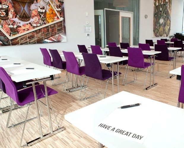 FourCast Line are stacking skid frame chairs which create striking dining, auditorium and conference facilities.