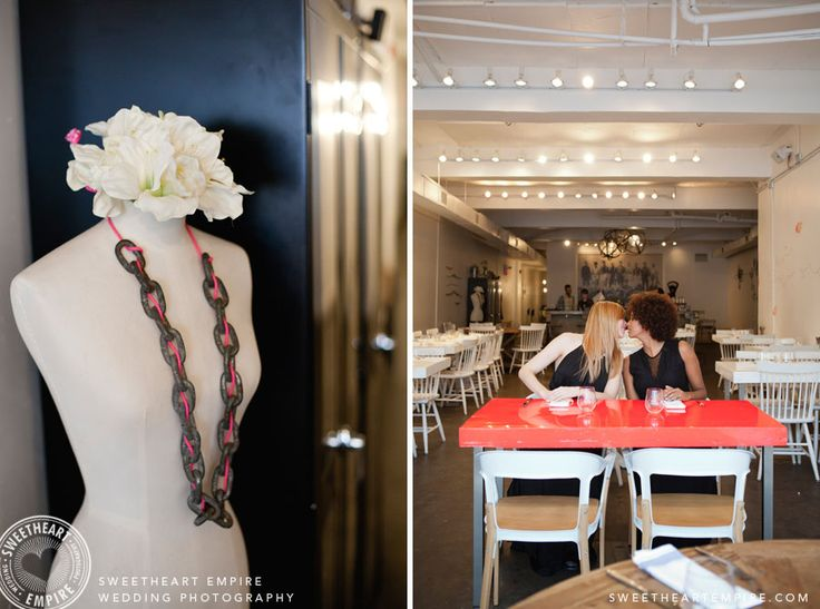 Decor details and a fiancees stealing a kiss at L'Ouvrier Kitchen Bar. Toronto Engagement photos, same-sex wedding, restaurant engagement session. #sweetheartempire #sweetheartempirephotography