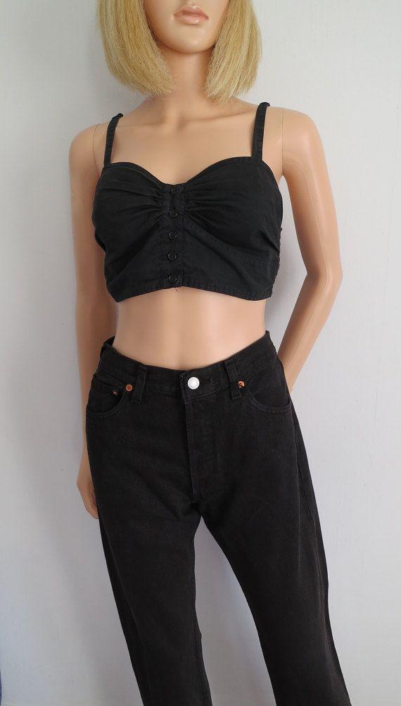 Schwarz Levis 501 hohe Taille Jeans schwarze Jeans Vintage