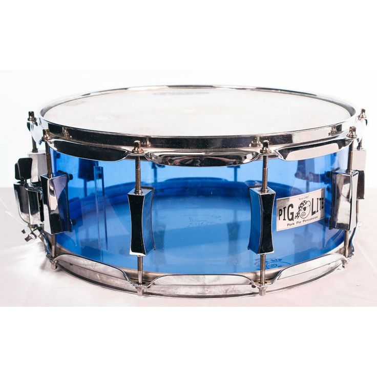 Pork Pie Pig Lite Blue Acrylic 14 x 5.5 Snare Drum (Pre-Owned). #porkpiepercussion #snare #drum