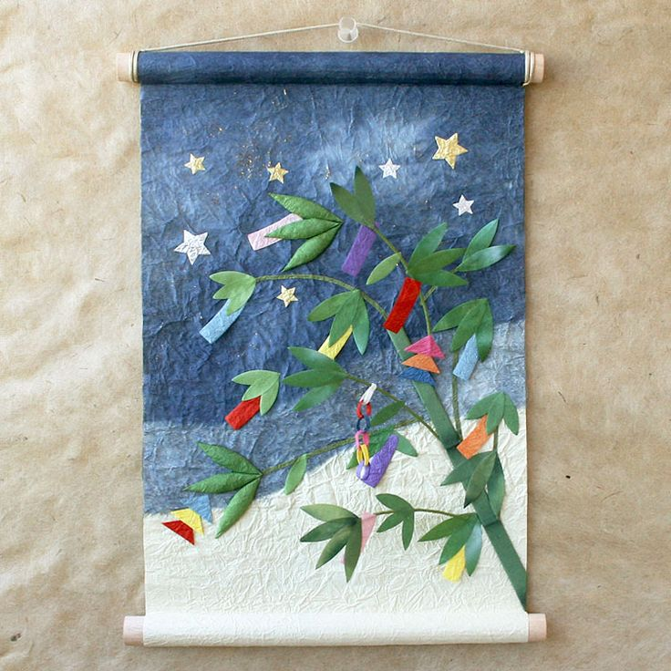 [めでたや]七夕飾りを楽しむ和紙のタペストリー。季題掛け軸 七夕【1個までネコポス可】