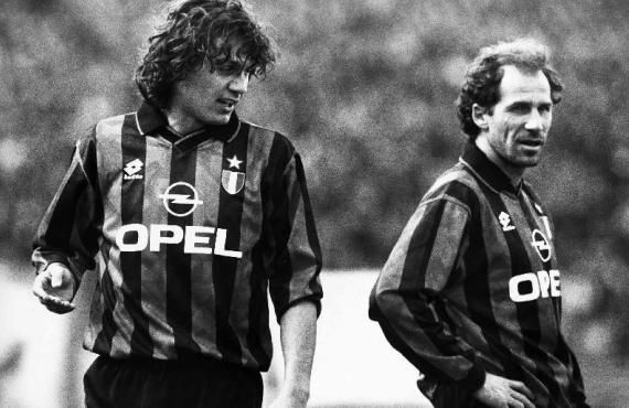 Paulo Maldini at the start of his career and Franco Baresi at the end of his.
