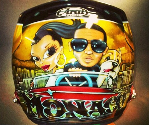 Lewis Hamilton spectacular helmet featuring 'Hamilton himself with his girl friend Nicole Scherzinger along with his new best friend ROSCOE'.
