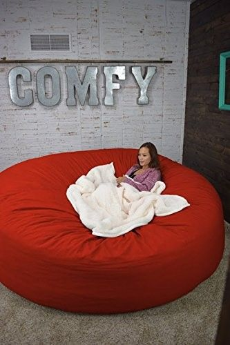 Bean Bag Bed 8-Foot Xtreem Oversized Bean Bag Chair in Twill, Fire Engine Red