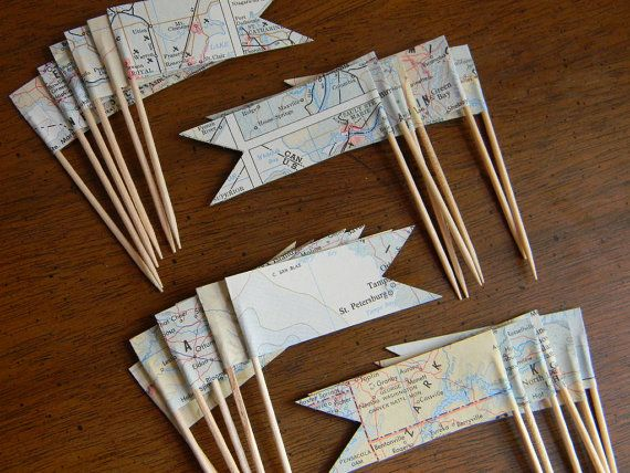 vintage map baby shower | Dozen Cupcake Picks Vintage maps //READY TO by ApplesModernArt