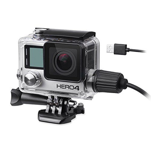 Beeway Upgrade Housing Case For Gopro Hero 4 ( Hero4 Black Silver ) Action Camera Wire Connected Usb Charging While Recording Waterproof Underwater 30 Meters