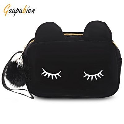 Just US$6, buy Guapabien Cotton Fabric Cute Cat Eyes Zipper Cosmetic Bag online shopping at GearBest.com Mobile.