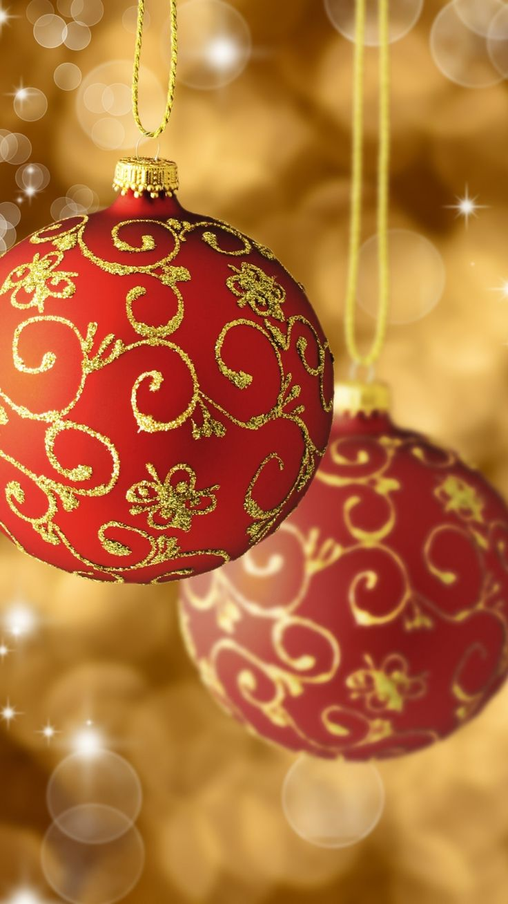 Latest Red Gold Christmas Balls Tree Decorations Phone Wallpaper HD Check more at phone... 8