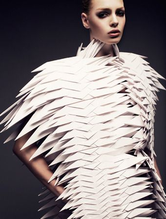 "Origami Fashion - paper engineering meets fashion design - 3D paper dress; wearable sculpture // ""Paper Plane Pleats,"" Bea Szenfeld"