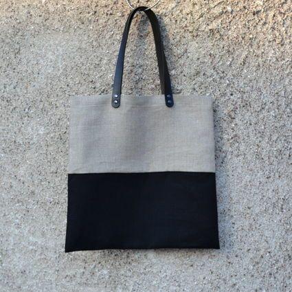 Pellavakassi, beige/musta color block | Weecos