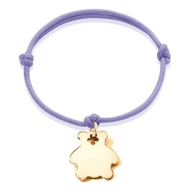 A gold-plated bear on colored string: £27 - choose your engraving! #lilou #bear #engraving #bracelet #lessthan35 #christmas #present