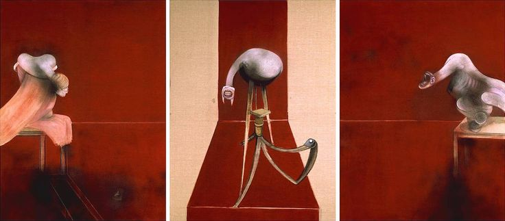 FRANCIS BACON    Second Version of Triptych 1944    1988    Oil paint and acrylic paint on 3 canvases    Support, each: 1980 x 1475 mm    frame (each): 2178 x 1668 x 100 mm    Tate    Presented by the artist 1991