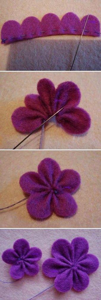 DIY süße Filz Blumen lila Clip Tutorial mit Perl…