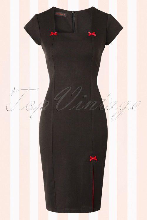 Hulahup Black Red Pencil Dress Bows 100 10 16373 20150826 003