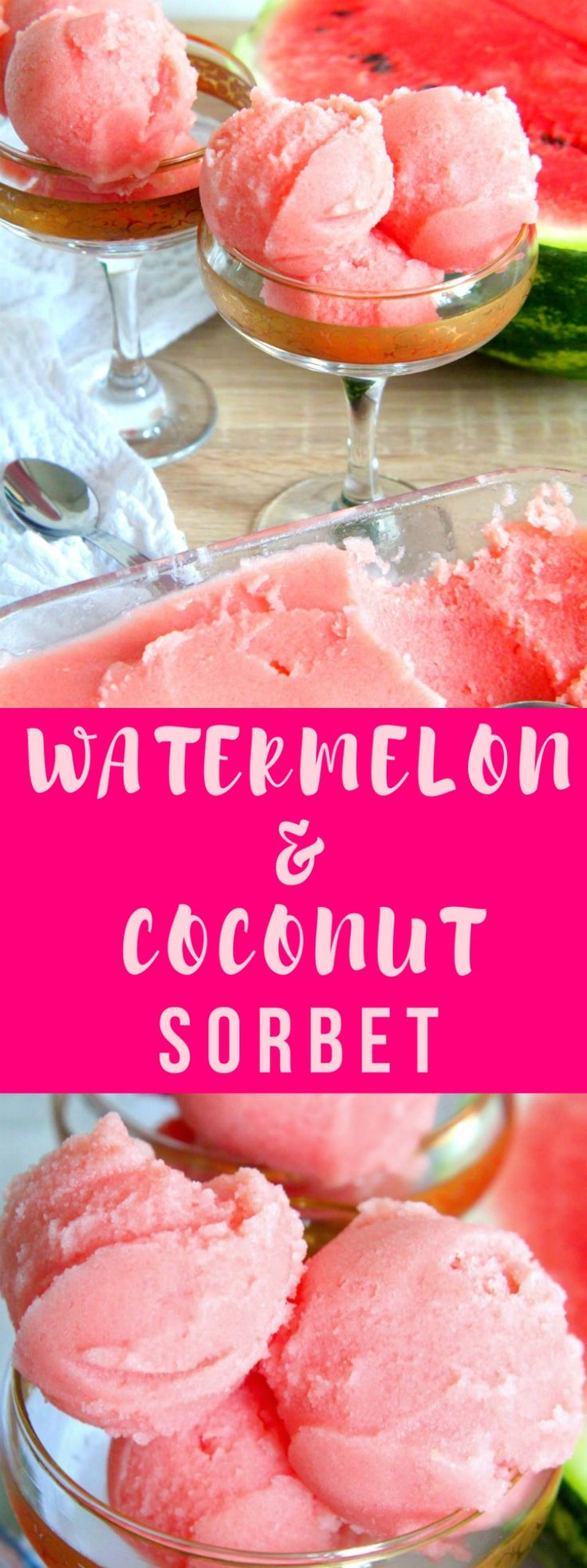 WATERMELON COCONUT SORBET RECIPE - All you need is three simple ingredients to make this incredibly delicious watermelon sorbet! So creamy, you won't believe this dessert is healthy & vegan!  #watermelon #sorbet #watermelonsorbet #dessert
