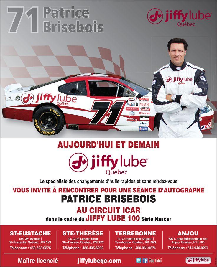 Le 5 et juillet prochain, rendez-vous au Circuit ICAR de Mirabel, afin d'assister à de nombreuses courses impressionnantes dans le cadre du NASCAR Jiffy lube 100!  En plus de voir Patrice Brisebois courser, vous pourrez le rencontrer à notre kiosque Jiffy lube Québec où il signera des autographes et prendra des photos avec le public!  Au plaisir de vous rencontrer!  L'équipe Jiffy lube Québec!  #NASCAR #JiffylubeQc #PatriceBrisbois #Jiffylube100