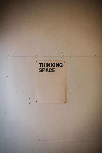 Thinking Space Sign on Wall | Business Humor | Xerox | Pun | lol | Typography | Words on Paper | Quote