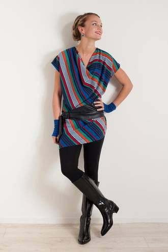 A symmetry striped tunic & belt By www.chalkydigits.co.nz