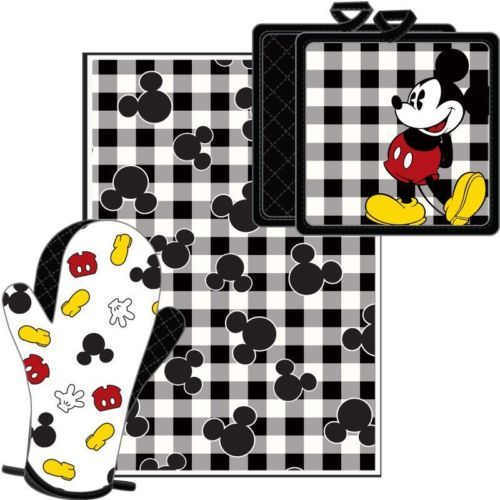 Good DISNEY Authentic Mickey Parts 3 Pc Kitchen Set  Towel  Pot Holder  Mitt    NWT