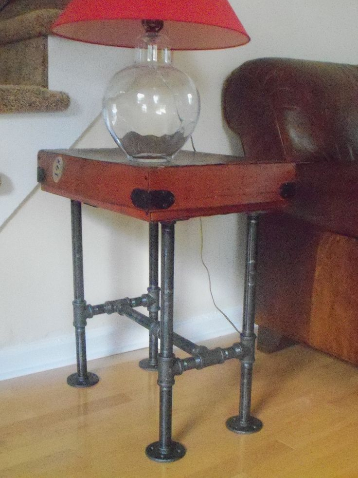 black iron furniture. vintage leather box with black iron pipe legs furniture