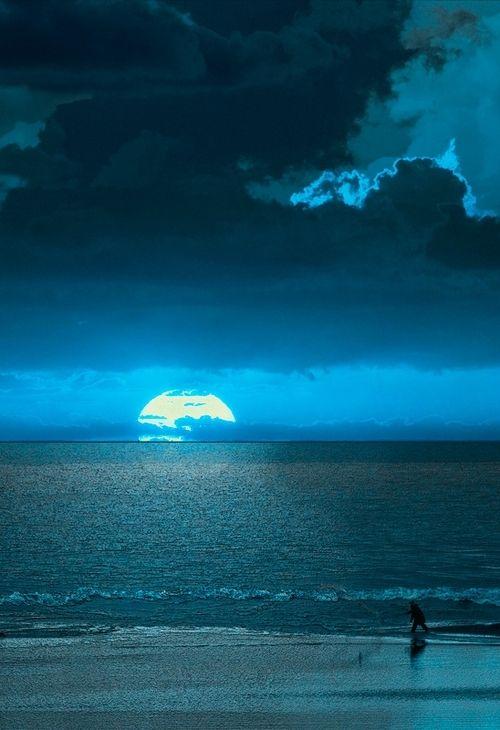 blue night on the beach
