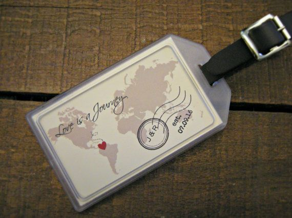 Custom Luggage Tag Favors make great favors for destination & beach weddings, bridal showers, engagement parties, out of town bags, welcome