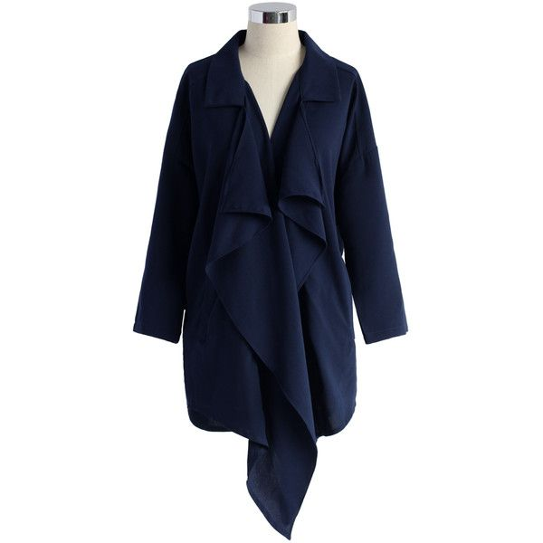 Chicwish Wavy Waterfall Trench Coat in Navy (225 RON) ❤ liked on Polyvore featuring outerwear, coats, chicwish, blue, navy blue trench coat, lightweight trench coat, draped trench coat, navy trench coat and blue trench coat