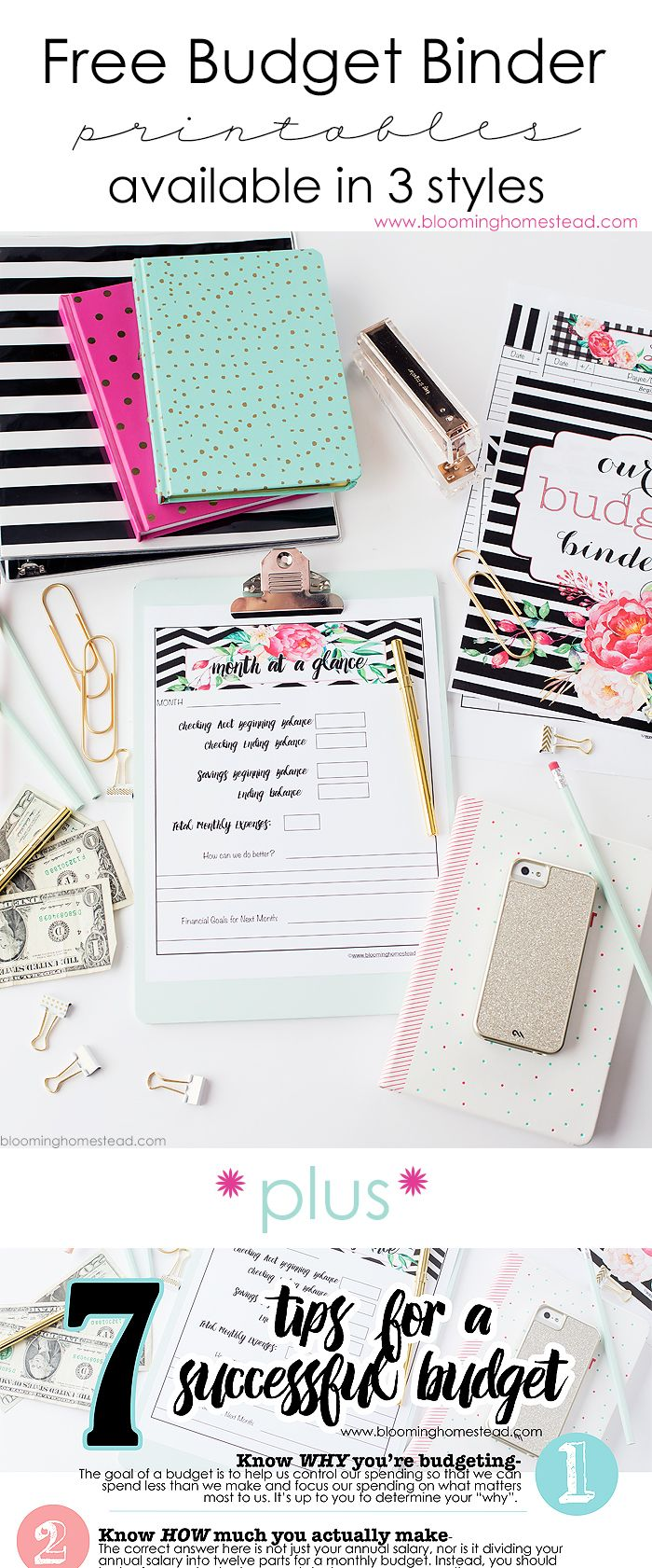 Free budget binder printables in 3 different styles with coordinating home organizational printables. Also inlcudes 7 tips for creating a successful budget!