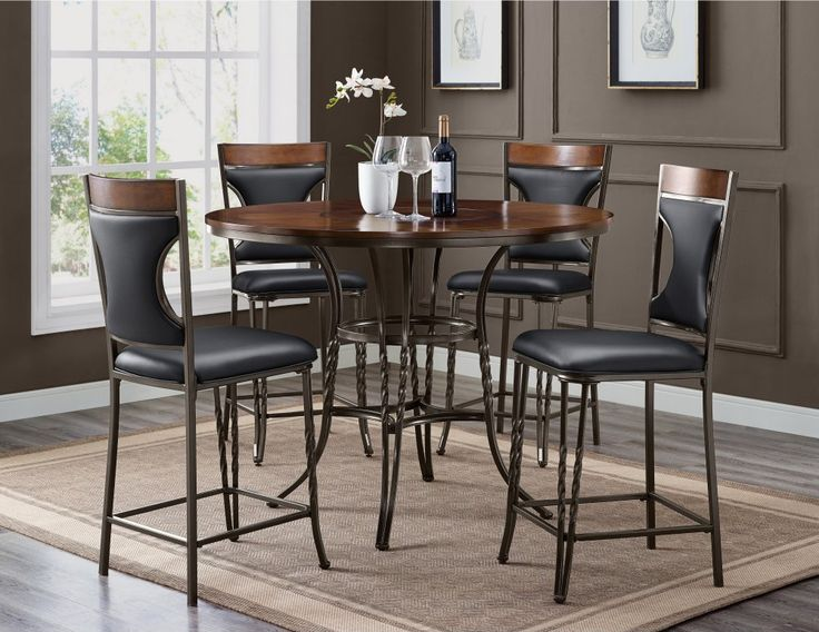 Westwind 5 Piece Counter Height Table 4 Chairs Round Wood Top With Metal Base