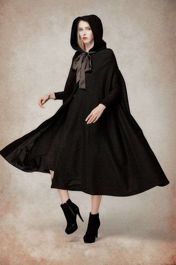 black wool hooded cape maxi hooded cloak winter by camelliatune