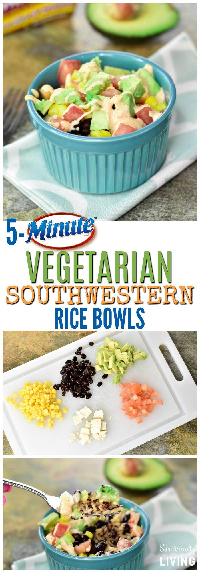 5-Minute Vegetarian Southwestern Rice Bowls AD http://www.simplisticallyliving.com/5-minute-vegetar…stern-rice-bowls/