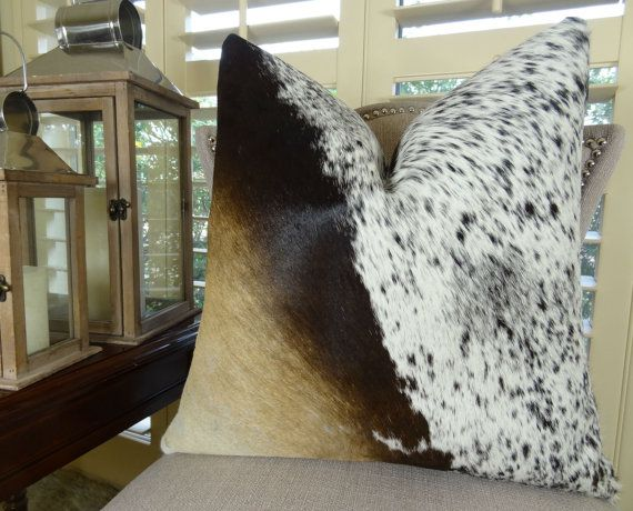 Cowhide Pillow Cover  Tri Color Brown Black by PillowsAndAccents