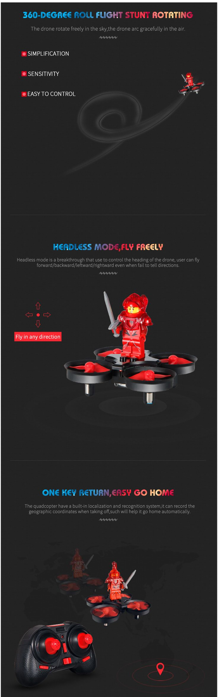 Eachine E011 Mini 2.4G Headless Mode With 60000RPM 716 Coreless Motor Toy Brick RC Quadcopter RTF