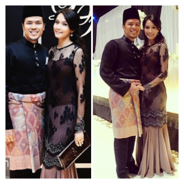 Malaysian celebrity couple in traditional clothes.