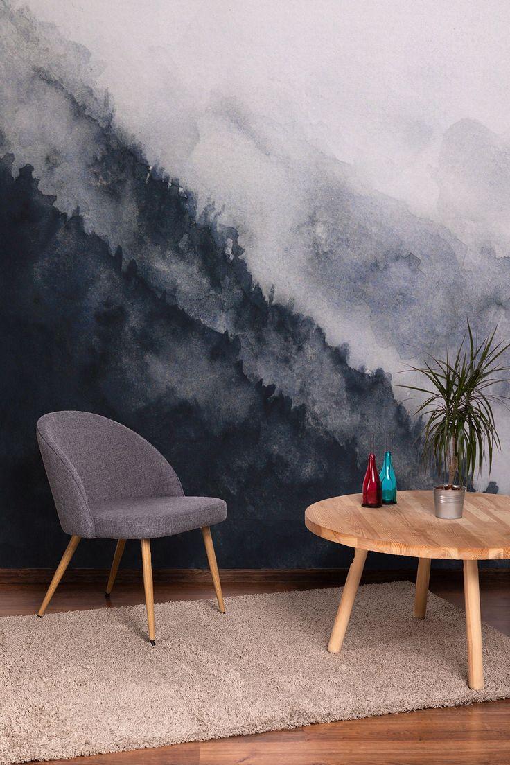 Watercolor Landscape Mountain Fog Removable Wallpaper Peel