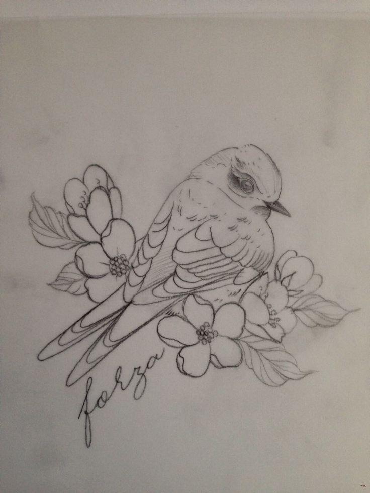 Disegno preparatorio rondine e fiori per tatuaggio