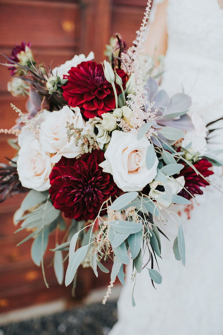 dahlia and roses bouquet - photo by Alex Lasota http://ruffledblog.com/autumn-wedding-for-two-middle-school-sweethearts