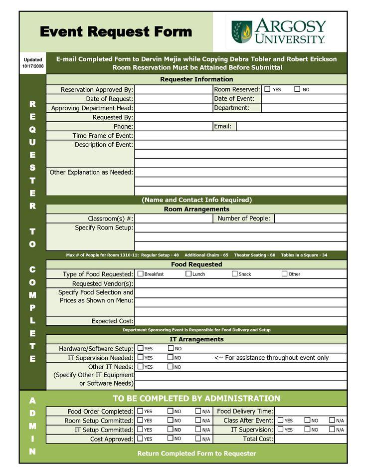 EVENT REQUEST FORM   Excel Work Stuff Pinterest   Software Request Form