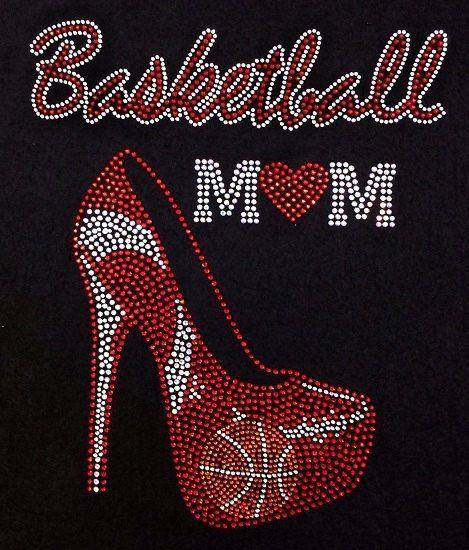 Rhinestone Basketball Mom T-Shirt  Bling Shirt by DesignsbyDaffy