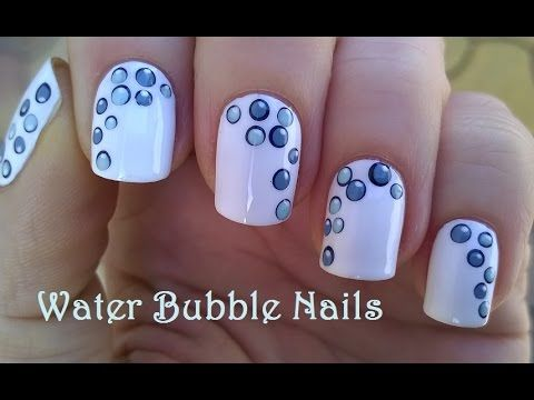 WATER BUBBLE NAILS / White Nail Art Design By Dotting Tool