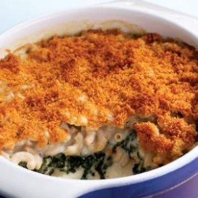 Baked Spinach Mac and Cheese.