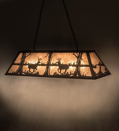 Add Rustic charm with this striking design of a young buck leaping through the trees in the woods. Warm ambient lighting is created by a Silver Mica lens enhanced by decorative accents, frame and matching in bronze hardware. Handcrafted in the foothills of the Adirondack Mountains. Additional wildlife and custom designs available, as well as energy efficient lamping options. Ideal for illuminating kitchen islands and tables, counters and billiard tables.