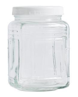 opbevaringsglas - krukke med hvidt låg