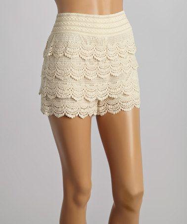 Love this Beige Lace Tier Shorts on #zulily! #zulilyfinds