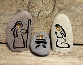 STONE NATIVITY SET  Engraved Natural Rock – Painted rocks