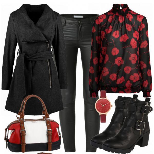 Schöner Freizeitlook aus schwarzem Mantel, schwarzer Bluse mit Blumen und Tom Tailor Handtasche... #fashion #fashionista #mode #damenmode #frauenmode #damenoutfit #frauenoutfit #outfit #outfitinspiration #mode #trend2018 #modetrend