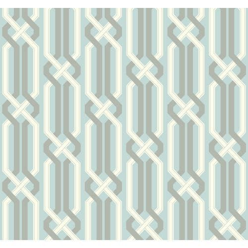 York Wallcoverings EB2020 Candice Olson Vibe Criss Cross Wallpaper - aquamarine / silvered aqua / white / silver (Aquamarine/Silvered Aqua/White/Silver)