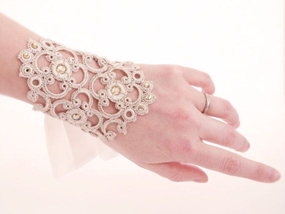 tatting idea ~ Bridal Cuffs Vintage crochet Silk & Swarovski OOAK by by Joliejye