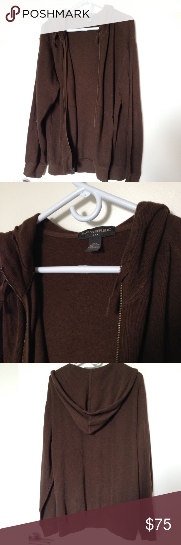 Brown Zip Up Hoodie! In perfect condition - hardly worn! Nice ribbed pattern and has the original string included. 100% cotton! Banana Republic Sweaters Zip Up