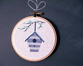 Birdhouse Embroidery Hoop Art, Modern Nursery Piece